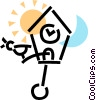 Vector Clipart graphic  of a coo-koo clock with the sun and
