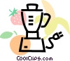 blender with bananas, strawberries & oranges Vector Clipart image