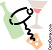 corkscrew with wine bottle and wine glass Vector Clipart graphic
