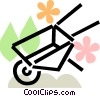 Vector Clip Art graphic  of a wheelbarrow with leaves