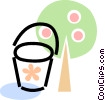 Vector Clip Art image  of an apple tree and a pail