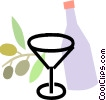 wine bottle with grapes and bottle of wine Vector Clipart illustration