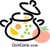 soup pot with assorted vegetables Vector Clip Art graphic
