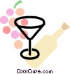 Vector Clip Art image  of a wine glass with grapes and