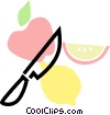 Vector Clip Art image  of an apple and lemon with knife