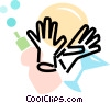 Vector Clip Art graphic  of a dish soap with gloves