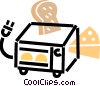 small oven with cheese and bread Vector Clip Art image