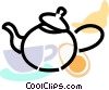 Vector Clipart graphic  of a teapot with teacup croissant