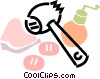 meat tenderizer with pork and pepper mill Vector Clip Art picture