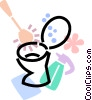 Vector Clipart graphic  of a toilet with toilet brush and