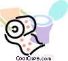 Vector Clip Art image  of a toilet with toilet paper and