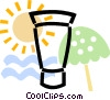 Vector Clip Art graphic  of a sun tan lotion with umbrella