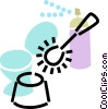 Vector Clip Art image  of a toilet with toilet brush and