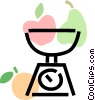 kitchen scale with apples, pears & oranges Vector Clipart graphic