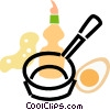 frying pan with eggs and dish soap Vector Clipart illustration