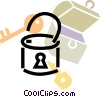 Vector Clipart image  of a padlock with lock box