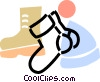 winter boots with socks and a hat Vector Clip Art image