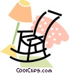rocking chair with a blanket and a lamp Vector Clipart illustration