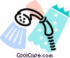 Vector Clip Art image  of a shower head with soap and