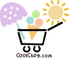 Vector Clip Art graphic  of a ice cream cart with umbrella
