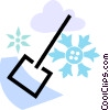snow with snow shovel Vector Clipart illustration