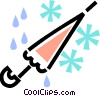 umbrella with snow and rain Vector Clipart illustration