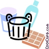 pail with cleaning supplies Vector Clip Art graphic
