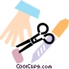 hand with scissors and stitches Vector Clipart graphic