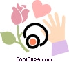 Vector Clip Art image  of a picking roses