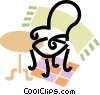 chair, table and a carpet Vector Clipart illustration