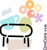 coffee table with flowers and cup of coffee Vector Clipart picture