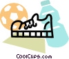 Vector Clipart graphic  of a running shoe with soccer ball