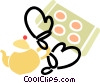 Vector Clip Art image  of a teapot with oven mitts and