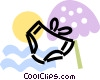 bathing suit with beach umbrella Vector Clipart picture