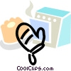 Vector Clip Art graphic  of a oven mitts with a cake and