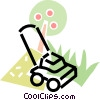 Vector Clip Art graphic  of a lawnmower with an apple tree