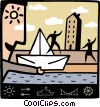 Vector Clip Art graphic  of a Paper Boats