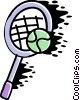 Vector Clip Art image  of a Tennis racket and tennis ball