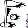 Vector Clip Art graphic  of a Golf ball on green beside the