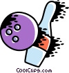 Vector Clip Art image  of a Balling ball hitting a pin