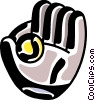 Vector Clip Art graphic  of a Baseball glove and baseball
