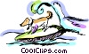 Dog surfing Vector Clip Art graphic