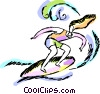 Woman Surfing Vector Clipart picture