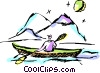Man kayaking by mountains Vector Clipart picture