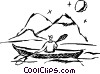 Vector Clipart graphic  of a Man kayaking by mountains