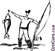 Vector Clip Art graphic  of a Fisherman with the catch of