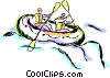 People in raft negotiating the rapids Vector Clipart image