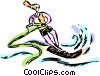 Vector Clipart graphic  of a Woman water skiing
