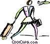 Vector Clipart image  of a woman walking to airport