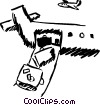 Unloading the plane Vector Clipart illustration